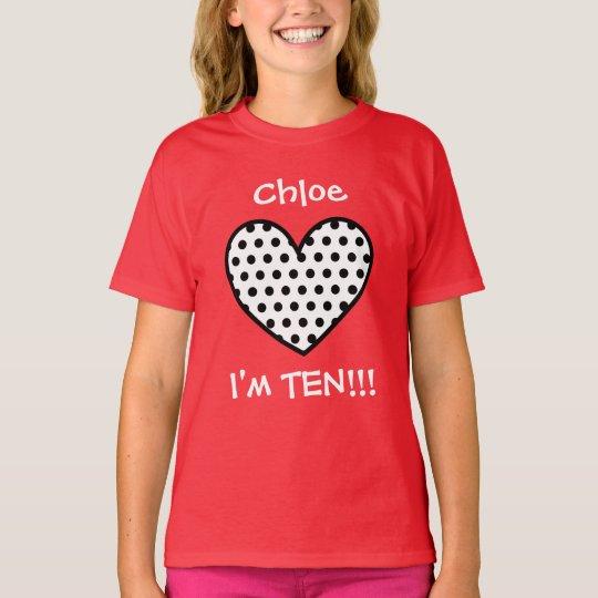 10th Birthday Polka Dot Heart W01P T-Shirt