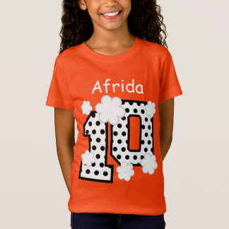 10th Birthday Polka Dots Custom Name V025A8 ORANGE T-Shirt