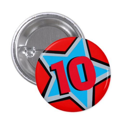 10th Birthday red grey star age button/badge 3