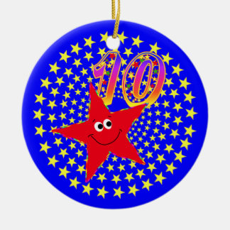 10th Birthday Red Smiley Star Round Ornament