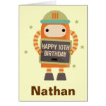 10th Birthday Robot vintage personalised card