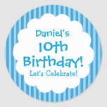 10th Birthday Sticker Blue Stripes V1C