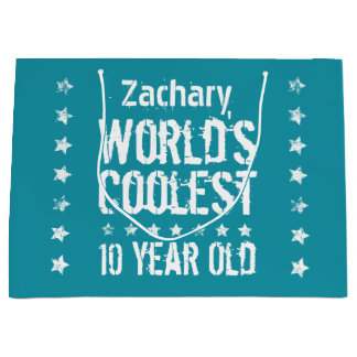 10th Birthday World's Coolest 10 Year Old Teal E18 Large Gift Bag