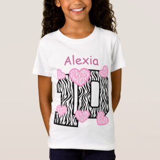 10th Birthday  Zebra Pink Hearts Custom Name 3 T-Shirt