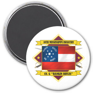 10th Mississippi Infantry -Rankin Rifles 7.5 Cm Round Magnet
