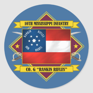 10th Mississippi Infantry -Rankin Rifles Classic Round Sticker