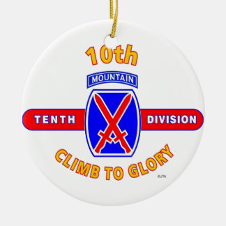 """10TH MOUNTAIN DIVISION """"CLIMB TO GLORY"""" CHRISTMAS ORNAMENT"""