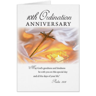 10th Ordination Anniversary, Cross Candle Greeting Card