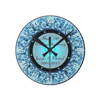 10th Silver Wedding Anniversary Round Clock