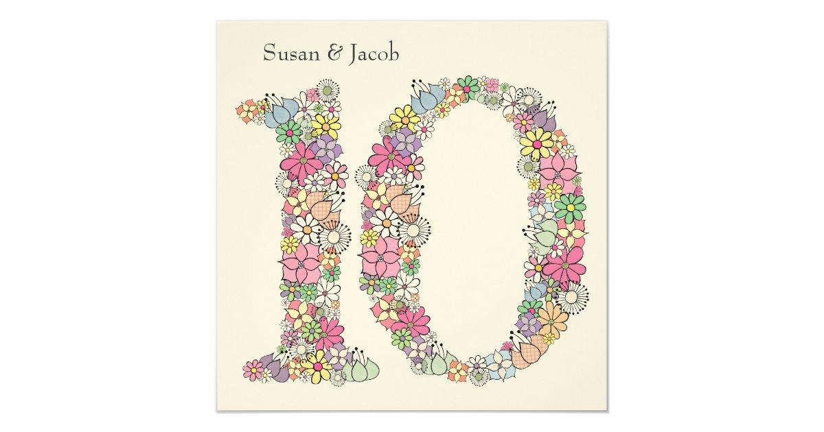 10th Wedding Anniversary Invitations: 10th Tenth Wedding Anniversary Custom Invitation