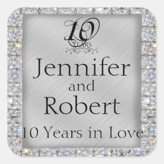 10th Tin and Diamond Anniversary Envelope Seal Square Sticker