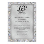 10th Tin and Diamond Wedding Anniversary 13 Cm X 18 Cm Invitation Card