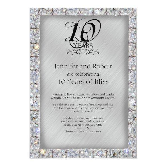 10th Tin and Diamond Wedding Anniversary Invitation ...