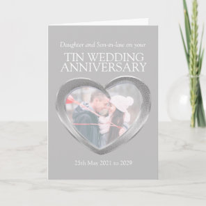 10th tin wedding anniversary photo card