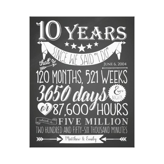 10th Wedding Anniversary Chalkboard 10 Years Canvas Print Zazzle Co Uk