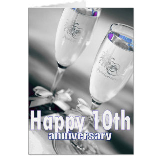 10th wedding anniversary champagne celebration greeting card
