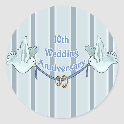10th Wedding Anniversary Gifts Stickers