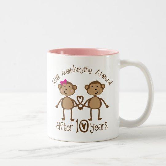 10th Wedding Anniversary Gifts Two-Tone Coffee Mug