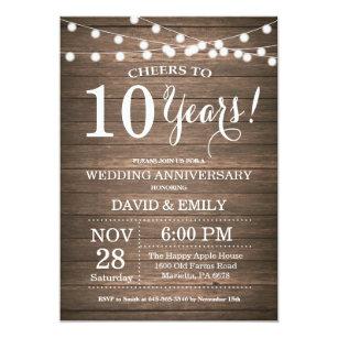 10th year anniversary invitations announcements zazzle uk