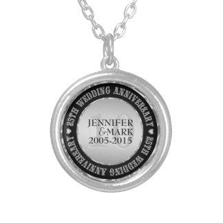 10Th Wedding Anniversary Metallic Silver & Black 2 Round Pendant Necklace