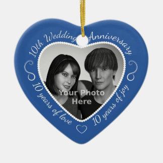 10th Wedding Anniversary Photo Ceramic Heart Decoration