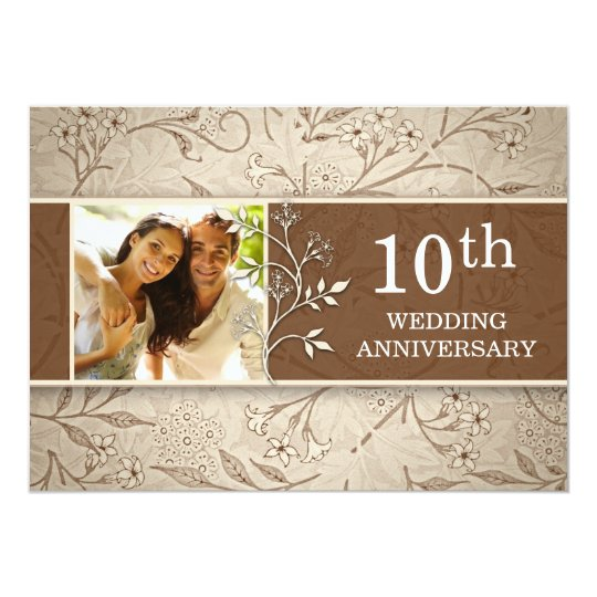 10th Wedding Anniversary Photo Invitations Zazzle Co Uk