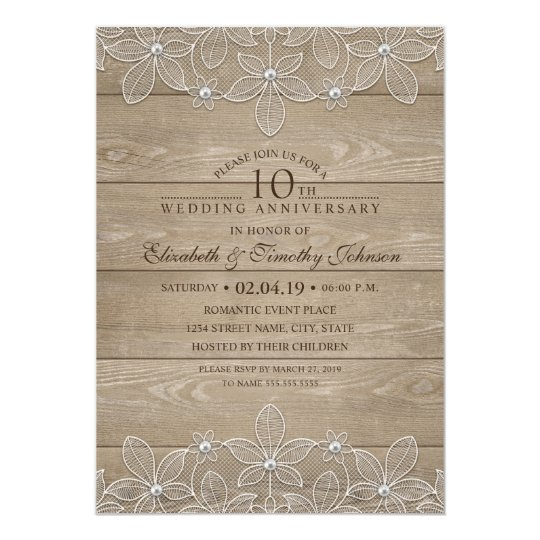 10th Wedding Anniversary Rustic Wood Vintage Lace Card