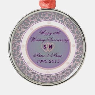 10th Wedding Anniversary Silver-Colored Round Decoration