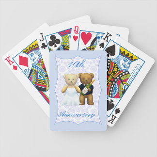 10th Wedding Anniversary Teddy Bear Couple Playing Cards