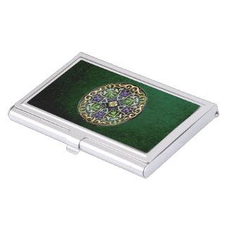 [110] Celtic Cross [Gold with Black Enamel] Business Card Holder