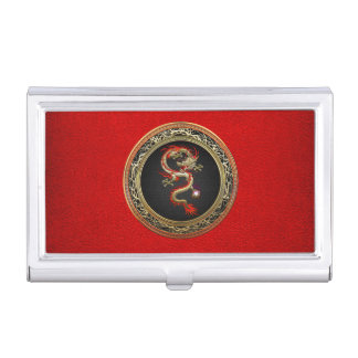 [110] Golden Chinese Dragon Fucanglong Business Card Holder