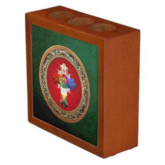 [110] Rosy Cross (Rose Croix) on Red & Gold Desk Organiser