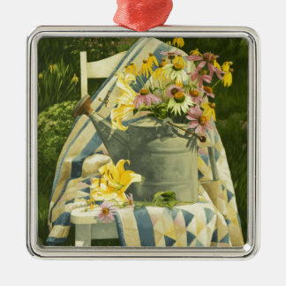 1138 Watering Can on Quilt in Garden Christmas Ornament