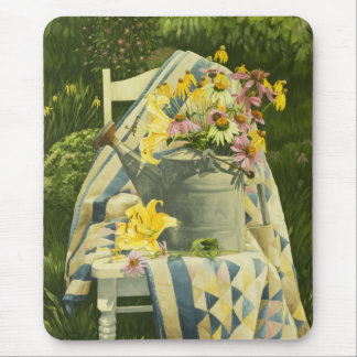 1138 Watering Can on Quilt in Garden Mouse Mat