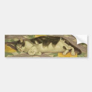 1149 Cat on Quilt Car Bumper Sticker