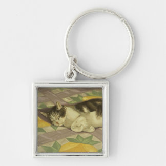 1149 Cat on Quilt Silver-Colored Square Key Ring