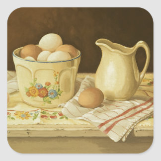 1175 Bowl of Eggs & Pitcher Square Sticker
