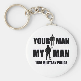 1186 Military Police My Man Basic Round Button Key Ring