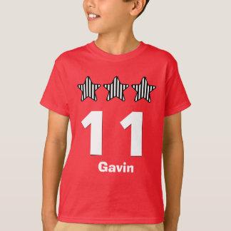 11 Birthday Boy Stars Big Number Custom Name V04 T-Shirt