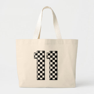 11 checkered auto racing number tote bag