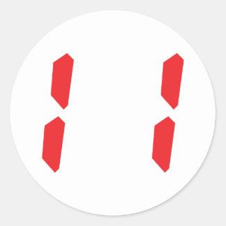 11 eleven red alarm clock digital number round sticker