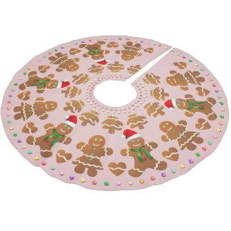 11 Gingerbread Boys And Girls Celebrating Xmas Brushed Polyester Tree Skirt