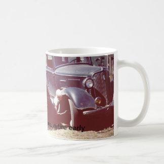 "11 oz mug featuring 1950 ""work hard"" photo."