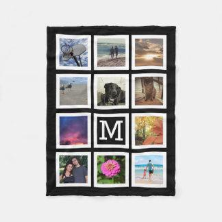 11 Photo Collage Mosaic Square Frame Monogram Fleece Blanket