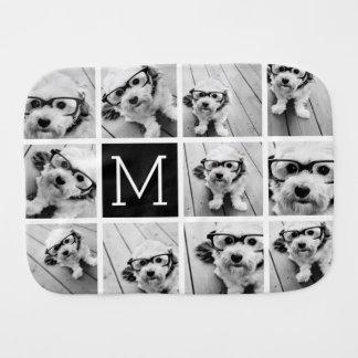 11 Photo Instagram Collage Custom Black Monogram Baby Burp Cloths