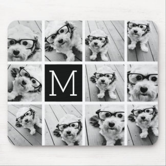 11 Photo Instagram Collage Custom Black Monogram Mouse Pad