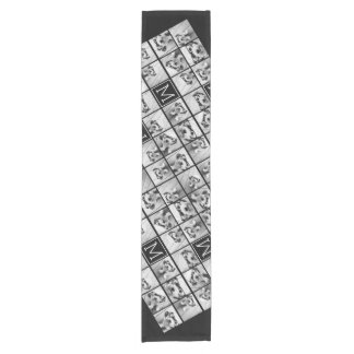 11 Photo Instagram Collage Custom Black Monogram Short Table Runner