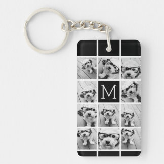 11 Photo Instagram Collage Custom Black Monogram Single-Sided Rectangular Acrylic Key Ring
