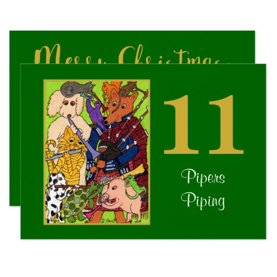 11 Pipers Piping Cute Animals Personalised Holiday Card