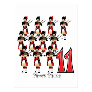 11 Pipers Piping Post Card
